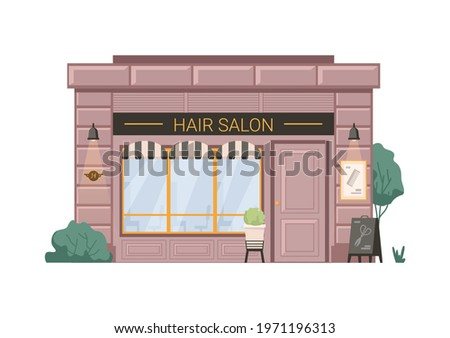 Hair salon barber beauty shop isolated flat cartoon building. Vector hairdresser small business retail store. Barbershop facade exterior, entrance and shopwindow, scissors hair cutters on billboard Royalty-Free Stock Photo #1971196313