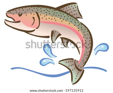 Illustration of a fish jumping out of water.
