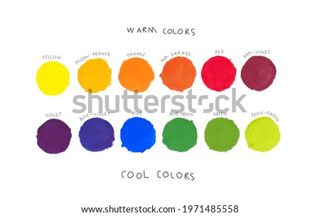 Basic colors theory for kids concept. Colour palette of primary, secondary and tertiary color, warm and cool scheme with kids hand writing. Complementary, Poster, Chart, Learning, Painting, Arts. Royalty-Free Stock Photo #1971485558