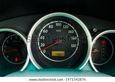 Car speedometer close-up, speedometer of automobile Royalty-Free Stock Photo #1971542876