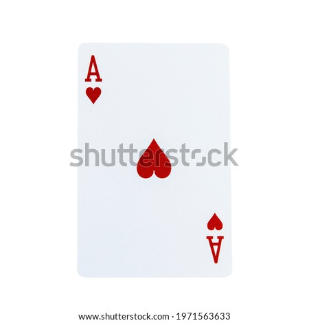 Ace playing card red heart for poker casino game isolated on white background. Royalty-Free Stock Photo #1971563633