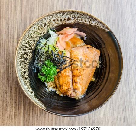 Salmon teriyaki on rice #197164970