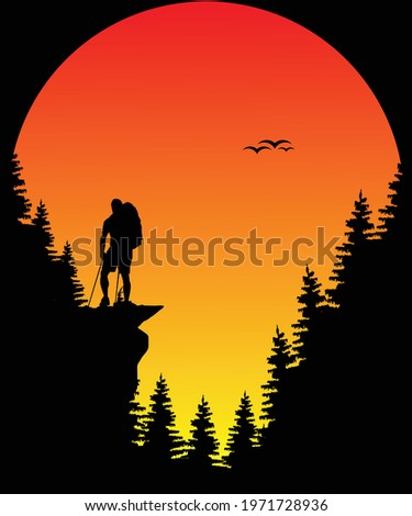 Hiking sun adventure t-shirt design for hiking lovers Royalty-Free Stock Photo #1971728936