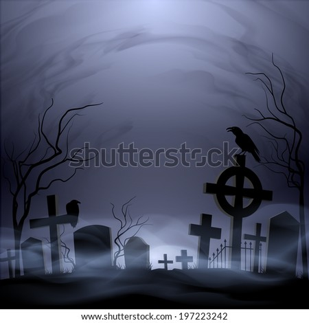 Night cemetery. Headstones and crosses. Clouds and fog. #197223242