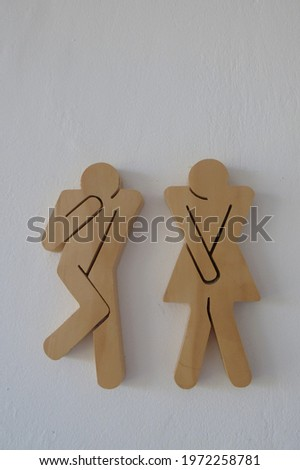 funny wooden toilet sign for male and female