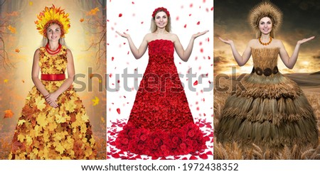 Collage of photos of dresses. Dress of roses, dress of spikelets and dress of autumn leaves.