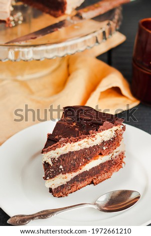 Dark chocolate cake with Coffee slice with chocolate buttercream frosting on a white plate.Selective focus. Royalty-Free Stock Photo #1972661210
