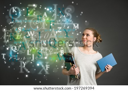 Young female student with clouds of bright formulas, numbers, letters, education - concept