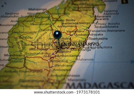 Antananarivo, the capital and largest city of Madagascar pinned on geographical map Royalty-Free Stock Photo #1973178101