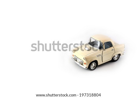 Ancient toy car isolated on white #197318804
