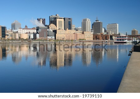 A picture of St. Paul  Minnesota skyline with reflections