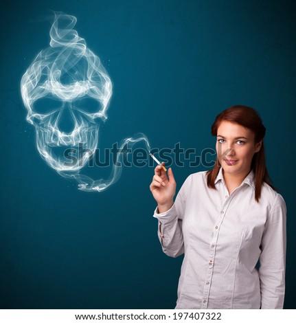 Pretty young woman smoking dangerous cigarette with toxic skull smoke