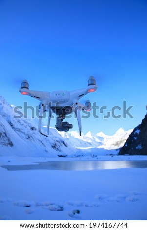 Flying drone taking picture of glacier lagoon in Tibet,China