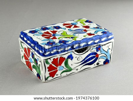 Hand painted ceramic business card name card holder with authentic flower figures and patterns. Kutahya Turkey hand painting arts local ethnic Anatolian motifs. Colorful business  corporate gifts.