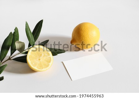 Summer stationery still life scene. Cut lemon fruit and olive tree branch nad leaves  in sunlight. Blank business card mockup isolated on white table background. Branding concept, Mediterranean design Royalty-Free Stock Photo #1974455963