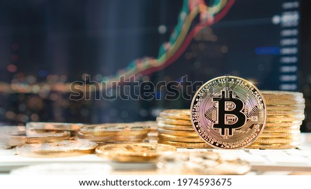Bitcoin BTC cryptocurrency coin digital crypto currency token for defi decentralized financial banking p2p business and world stock exchange investment via internet online technology Royalty-Free Stock Photo #1974593675