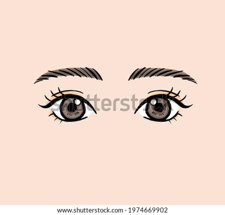 Clip art of eyelash perm eyes.