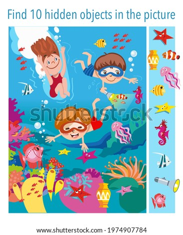 Find 10 objects in the picture. Children swim underwater with fish, seahorse, stars, jellyfish, vector illustration, full color. Royalty-Free Stock Photo #1974907784