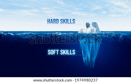 Discover your hidden soft skills concept. Motivational concept for leaderships with iceberg – bigger part representing undiscovered soft skills is hidden under water. Royalty-Free Stock Photo #1974980237