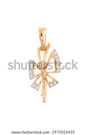 Gold pendant in the form of a flower, monogram, leaf. Female jewelry isolated on white background.