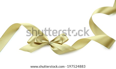 Color gift satin ribbon bow, isolated on white #197524883