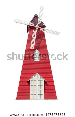 Windmill house made of wood The structure is red mixed with white. on isolated white background with clipping path.