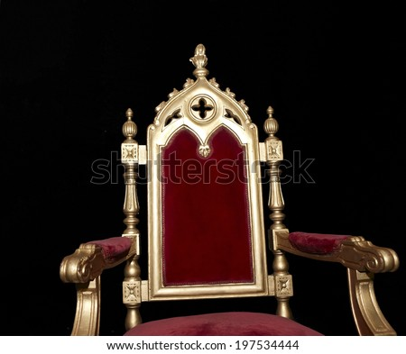 Golden royal chair isolated on black. Horizontal format #197534444