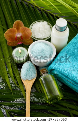 spa setting with palm texture #197537063