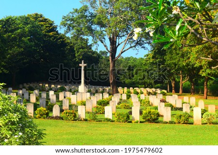 Trincomalee British War Cemetery (also known as Trincomalee War Cemetery) is a British military cemetery in Trincomalee, Sri Lanka, for soldiers of the British Empire who were killed  Royalty-Free Stock Photo #1975479602