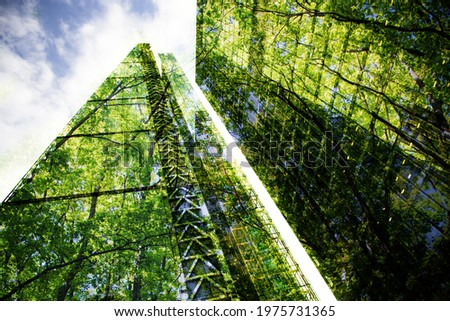 green city - double exposure of lush green forest and modern skyscrapers windows Royalty-Free Stock Photo #1975731365