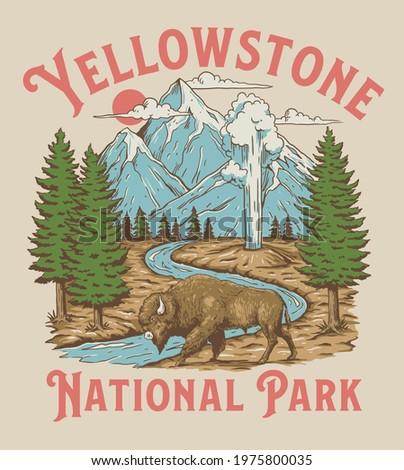 Vintage Yellowstone National Park Bison Mountain Geyser Scene Royalty-Free Stock Photo #1975800035