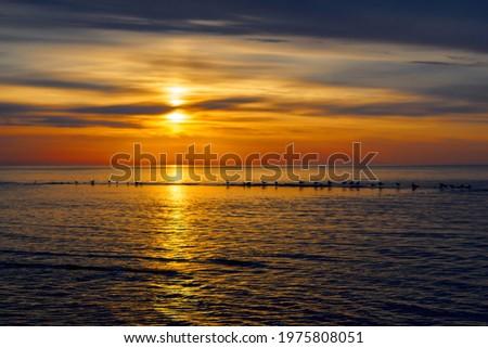 Amazing sea sunset, Nature landscape background Royalty-Free Stock Photo #1975808051