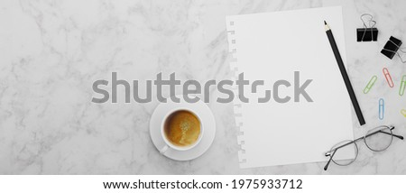 Blank paper, pencil, clips, eyeglasses and coffee cup on marble table, 3D rendering, 3D illustration, top view