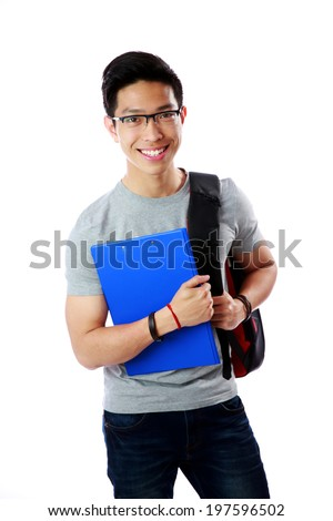 Young student with backpack and notebook standing over white background #197596502