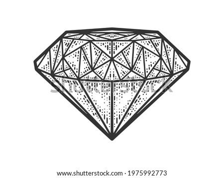 diamond brilliant sketch engraving vector illustration. T-shirt apparel print design. Scratch board imitation. Black and white hand drawn image.