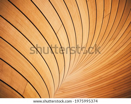 Wooden wall Tiles curve texture Architecture details interior decoration Royalty-Free Stock Photo #1975995374