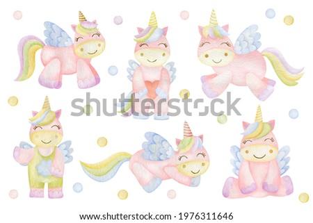 Watercolor set of unicorns isolated on white background.