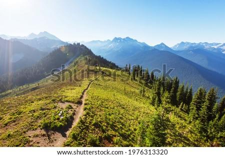 Beautiful mountain peak in  North Cascade Range, Washington,  USA Royalty-Free Stock Photo #1976313320