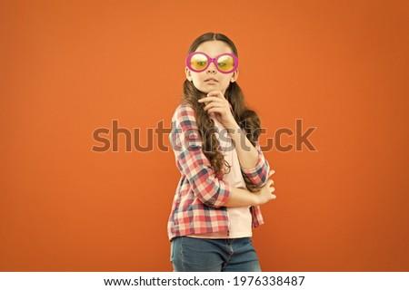 UV protection. Optics and eyesight. Child happy good eyesight. Sunglasses summer accessory. Eyesight and eye health. Care eyesight. Ultraviolet protection crucial while polarization more preference Royalty-Free Stock Photo #1976338487