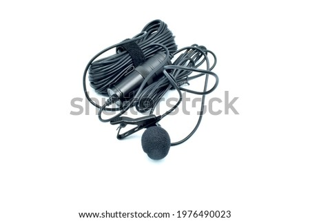 Black Lavalier Mic with White Background used for Audio Recording