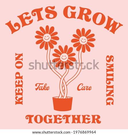 Retro Happy Flower Vector Art Illustration.Smiling Flower Icon Fashion Illustration. Vintage Slogan T shirt Print Design. Royalty-Free Stock Photo #1976869964