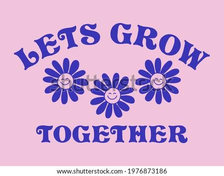 Retro Happy Flower Vector Art Illustration. Smiling Flower Icon Fashion Illustration. Vintage Slogan T shirt Print Design. Royalty-Free Stock Photo #1976873186