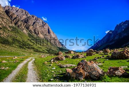 The road through the mountain valley. Mountain valley landscape. Mountain valley rocks Royalty-Free Stock Photo #1977136931