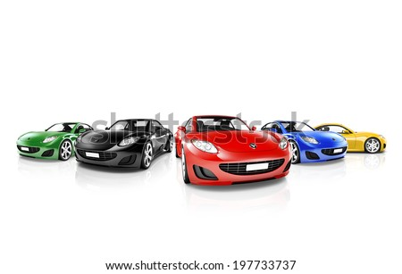 Group of Multi Colored Modern Cars #197733737