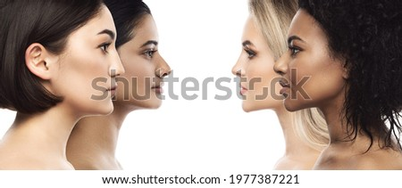 Multi-ethnic beauty and skincare. Group of beautiful women with a different ethnicity. Royalty-Free Stock Photo #1977387221