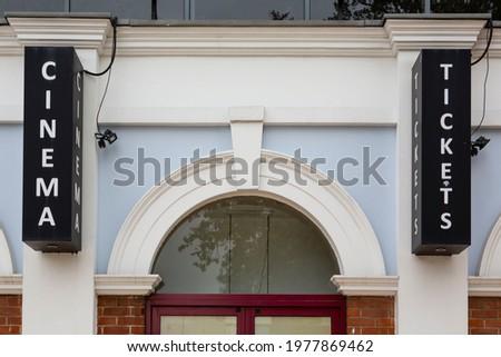 Cinema signage over entrance doorway