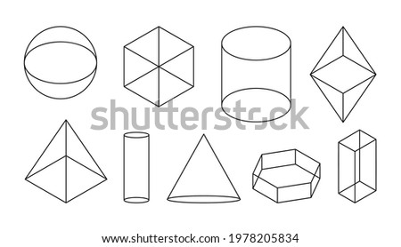 Volumetric basic geometric shapes. Black linear simple 3d figure with invisible shape lines. Isometric views sphere and cube, cylinder and cone and other forms. Isolated on white vector illustration Royalty-Free Stock Photo #1978205834