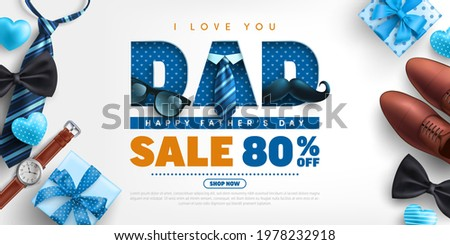 Father's Day Sale poster or banner template with necktie,glasses and gift box on blue.Greetings and presents for Father's Day in flat lay styling.Promotion and shopping template for love dad concept. Royalty-Free Stock Photo #1978232918