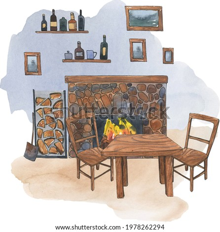 watercolor cottagecore art,  farm life scenery illustration,  watercolor tavern with fireplace, wooden table and chairs, country house scenery, pub interior
