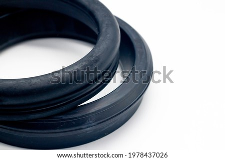 Ductile pipe gasket close-up, rubber gasket Royalty-Free Stock Photo #1978437026
